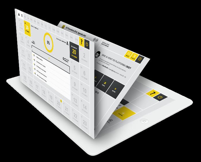 Capturi diverse de ecran din aplicatia OKEY stilizate