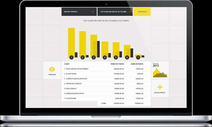 Captura de ecran din modulul de management al vanzarilor
