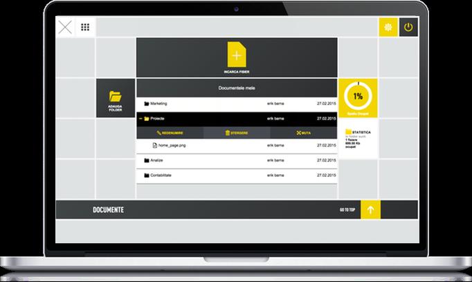 Captura de ecran din modulul de management de documente